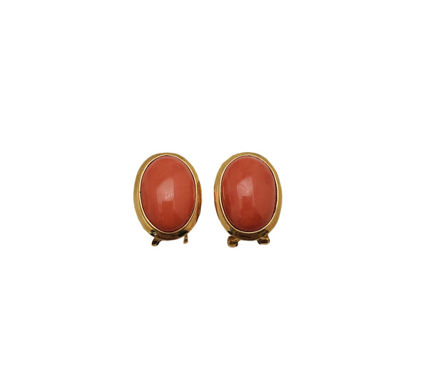 Oval Red Coral Omega Stud Earrings (14K)