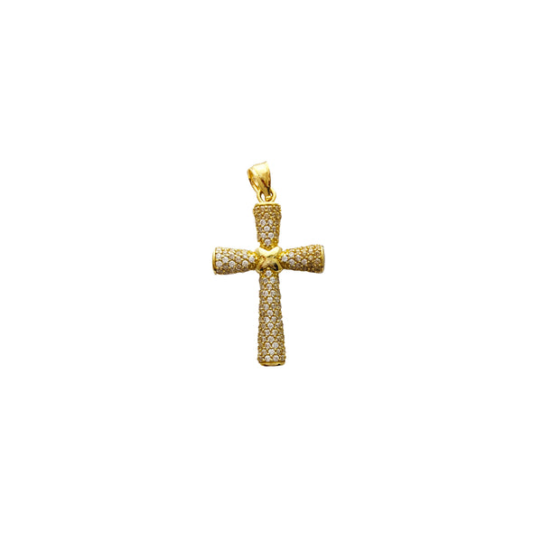 Iced-Out Round Cross Pendant (14K)