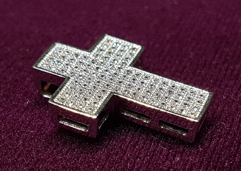 Cross Pendant CZ Micropavé Silver - Popular Jewelry