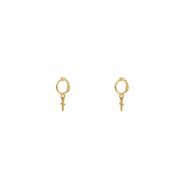 Kids' Cross Hanging Earrings (14K)