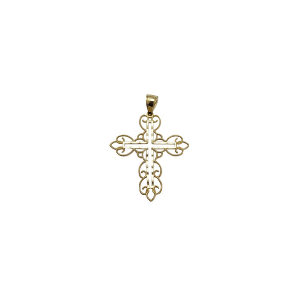 Two Tone Outline Cross Pendant (14K)