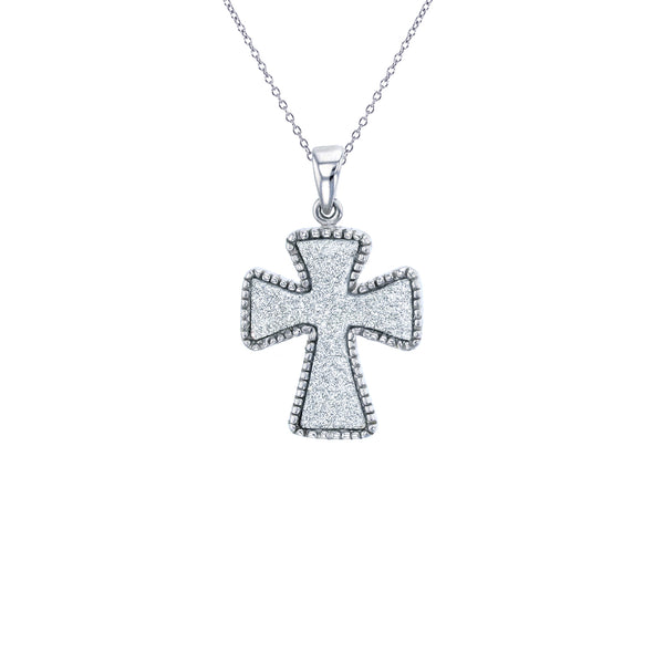 Milgrain Cross Necklace (Silver)