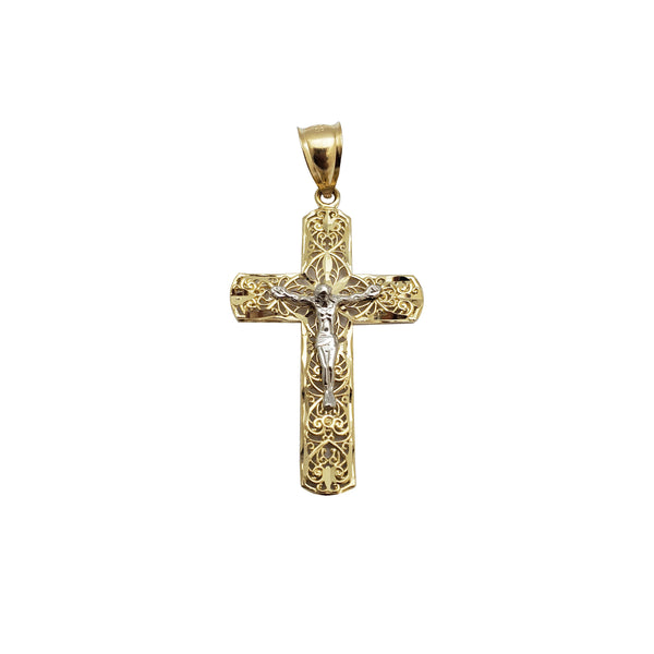 Two Tone Cross Pendant (14K)