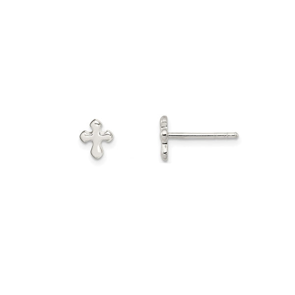 Cross Stud Earrings (Silver)