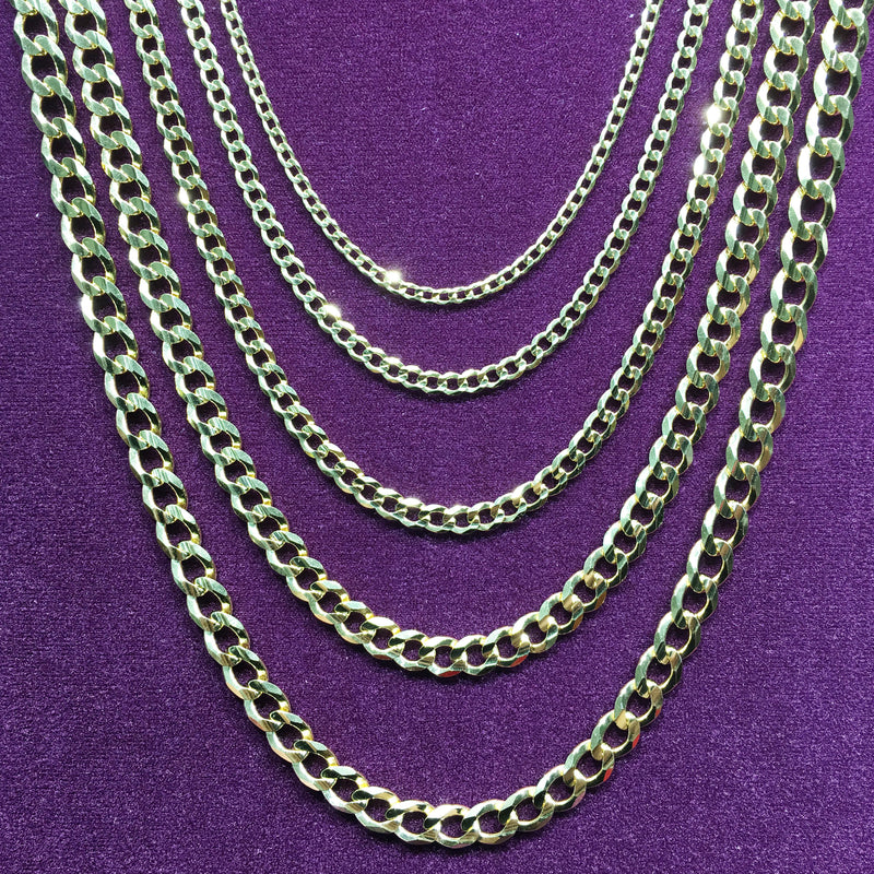 Flat-Link Cuban Chain Silver (Yellow) - Popular Jewelry