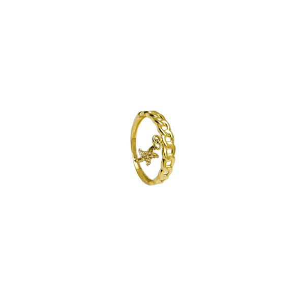 Cuban Link with Dangling Star Ring (14K)