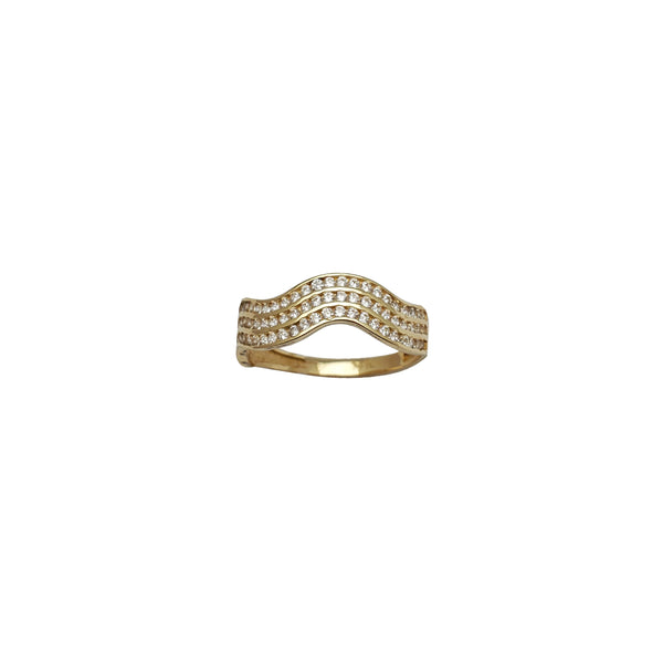 Triple-Row Wavy Channel CZ Band (14K)
