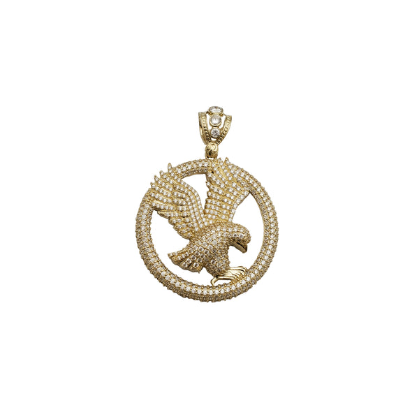 Yellow Gold Iced-Out Eagle Pendant (14K)