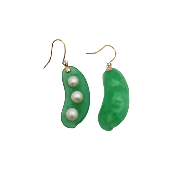 Lucent Green & Pearl Peapod Earring (14K)