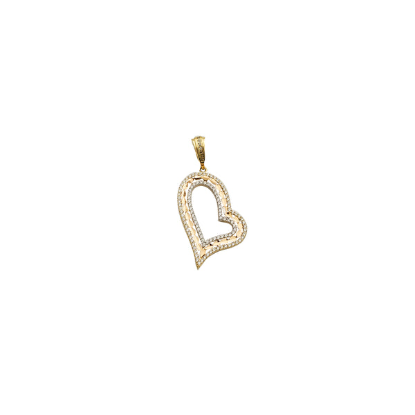 Yellow Gold CZ Heart Pendant (14K)