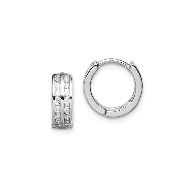2-Row CZ Huggie Earrings (Silver)
