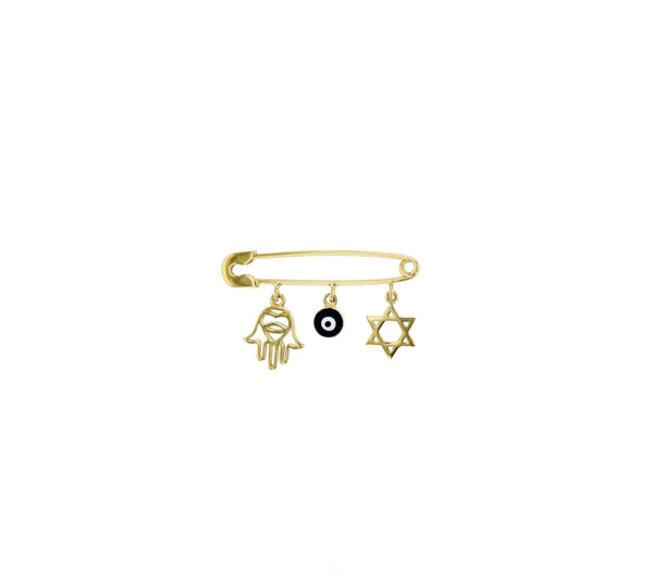 Hamsa , Evil Eye and Star David Safety Pin (14K)
