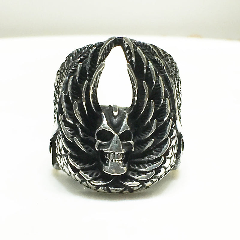 Antique-Finish Demon Head Ring (Silver) - Popular Jewelry