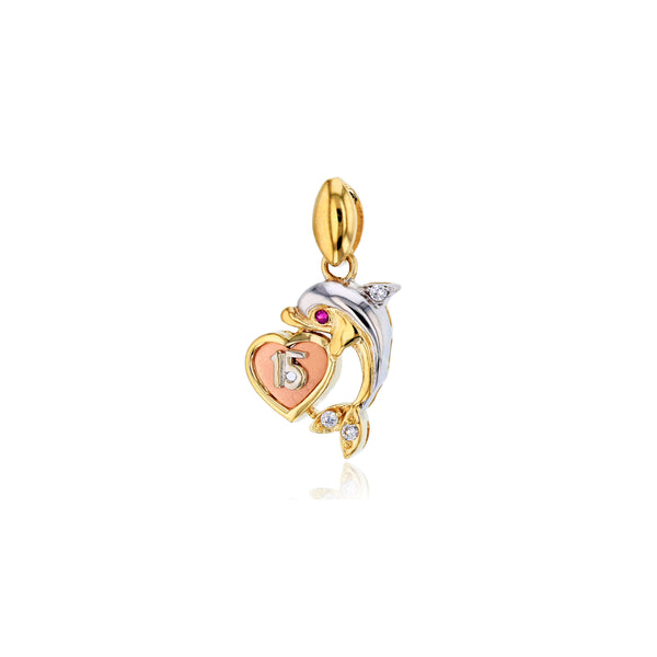 Tricolor Fifteen Year Dolphin Pendant (14K)