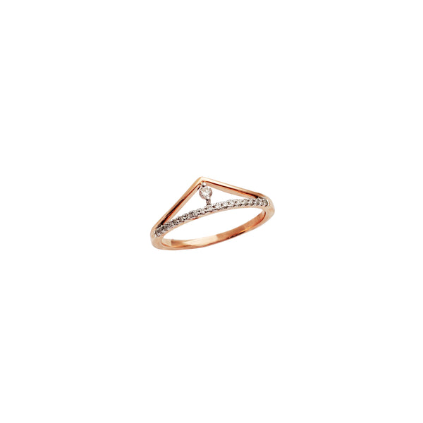 Outline Diamond Tiara Rose Gold Ring (14K)