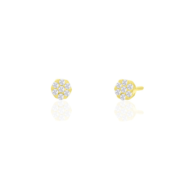 Diamond Round Stud Earrings (14K)