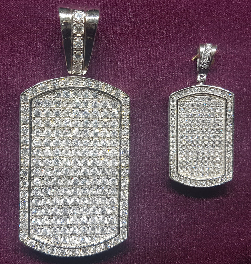Military Dog Tag Pendant CZ Silver - Lucky Diamond 恆福珠寶金行 New York City 169 Canal Street 10013 Jewelry store Playboi Charlie Chinatown @luckydiamondny 2124311180