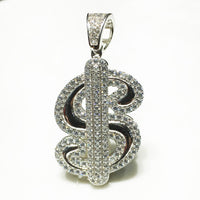 Iced-Out Dollar Sign Pendant (Silver) - Popular Jewelry