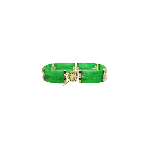 Double Row Green Jade Bracelet