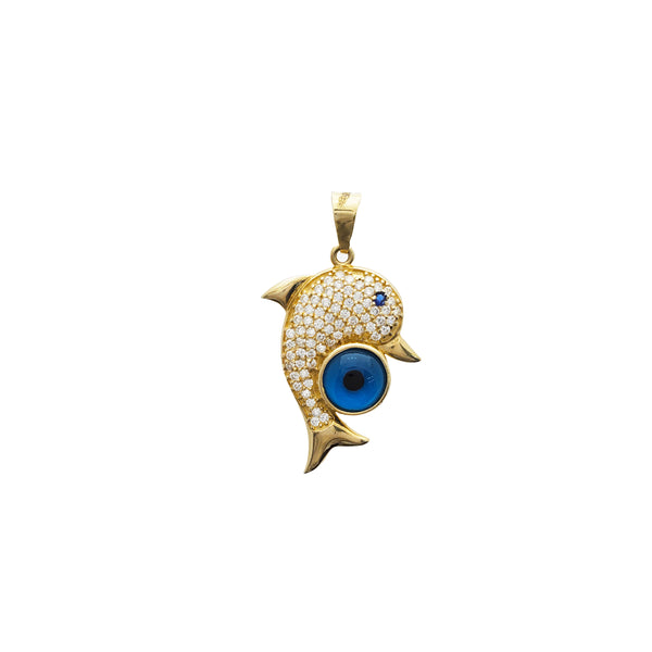 Dolphin with Evil Eye Pendant (14K)