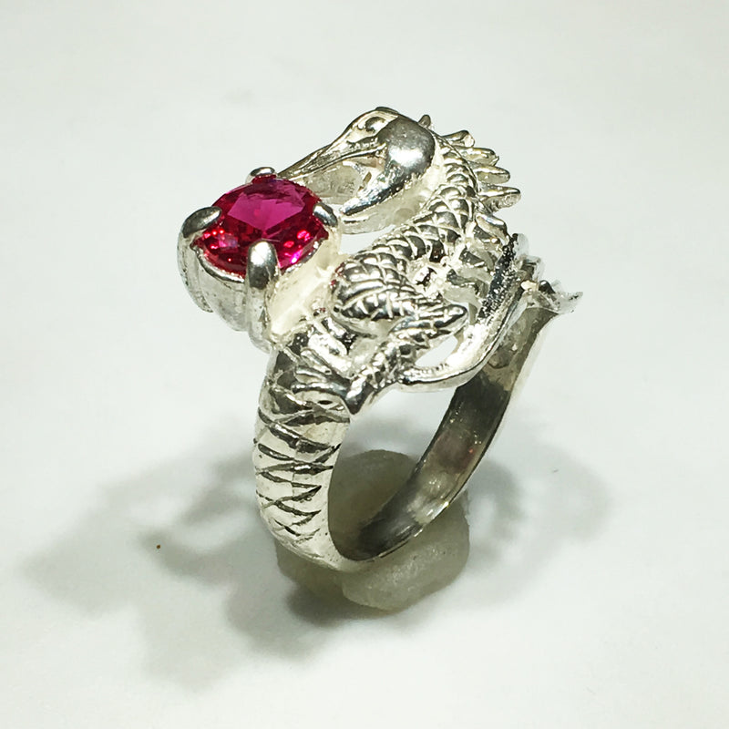 Dragon and Gemstone Ring (Silver) - Popular Jewelry