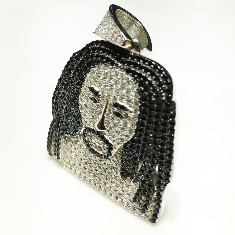 Iced-Out Man With Dreads Pendant (Silver) - Popular Jewelry