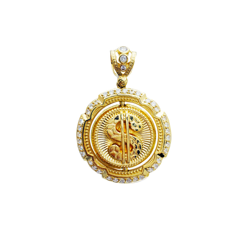Spin Medallion with Dollar Sign & Pocket Card Pendant (14K)