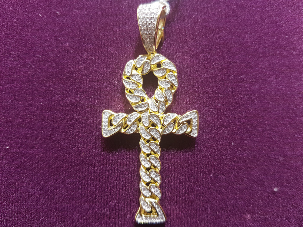 Iced-Put Cuban Link Ankh Pendant Silver (Yellow) - Popular Jewelry