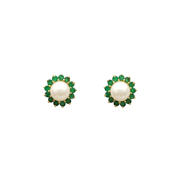 Emerald & Pearl Stud Earrings (14K)