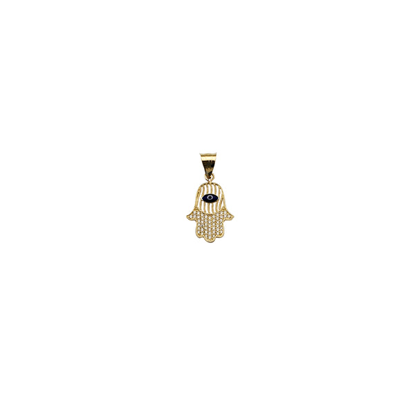 Yellow Gold CZ Evil Eye's Hamsa Pendant (14K)