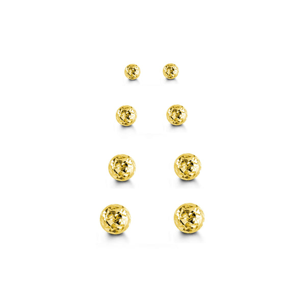 Faceted Ball Stud Earrings (14K)