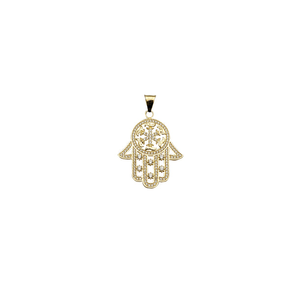 Yellow Gold Ice Flake Hamsa Pendant (14K)