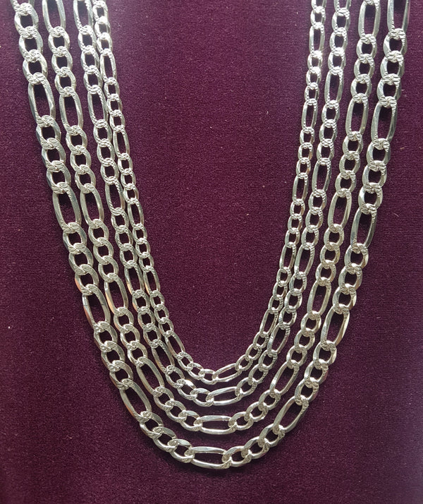 Figaro Chain (w / Diamond Cut) Silver - Popular Jewelry