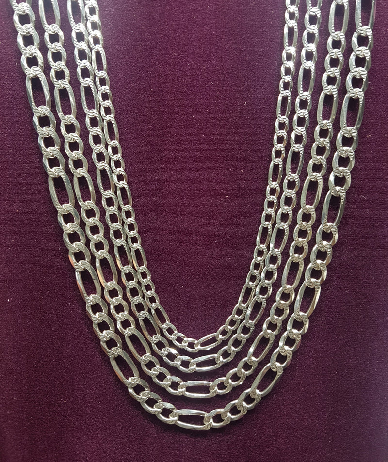 Figaro Chain (w/ Diamond Cut) Silver - Popular Jewelry