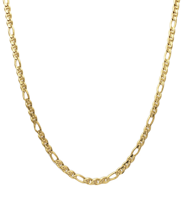 Solid Flat Figaro & Mariner Necklace (14K)