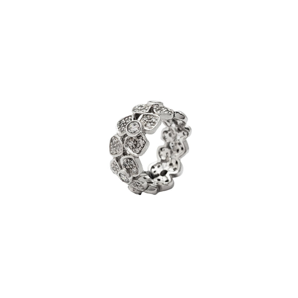 Cubic Zirconia Flower Eternity Band Ring (Silver)