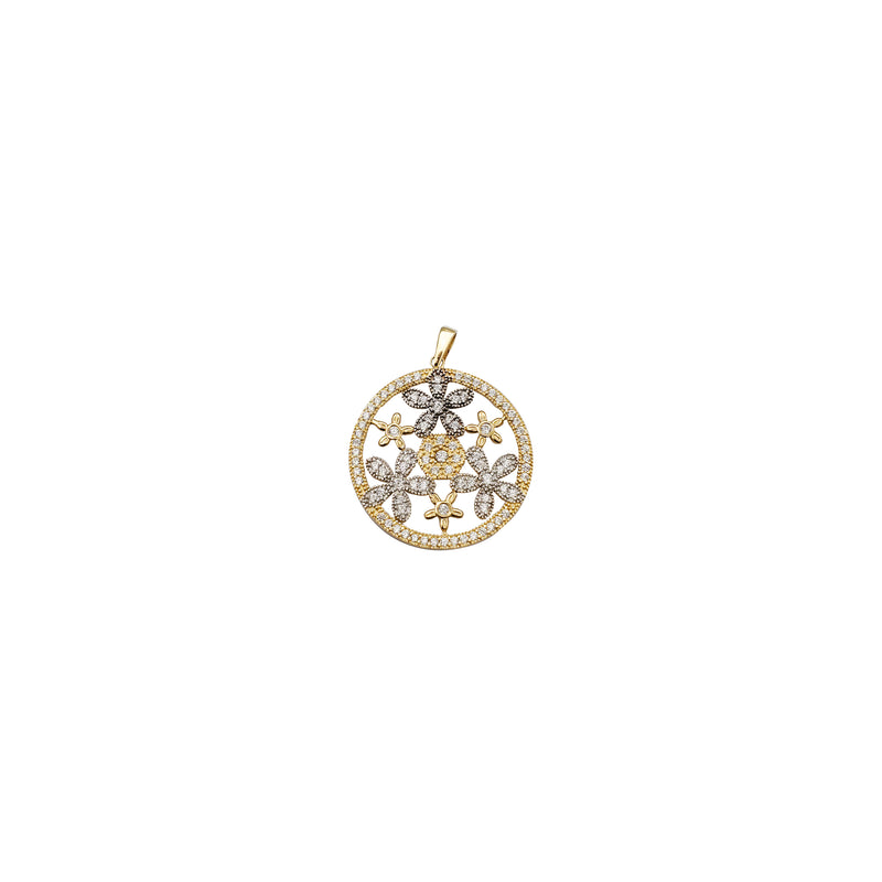 Yellow Gold Iced Out Flower Pendant (14K)