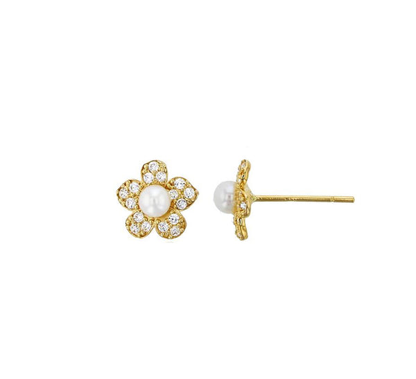 Flower Pearl Earrings (14K)