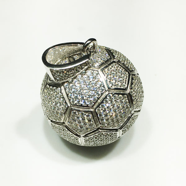 Football / Soccer Iced-Out Pendant (Silver) - Popular Jewelry