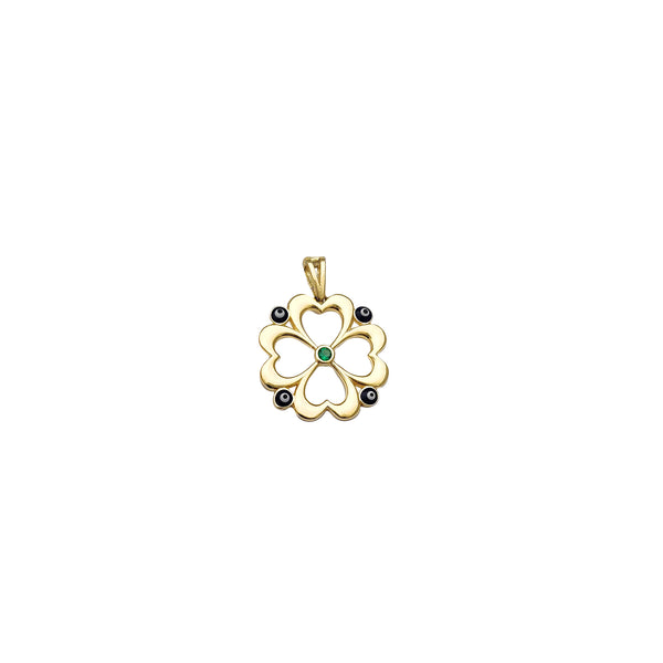 Four-Leaf Clover & Evil Eye Pendant (14K)