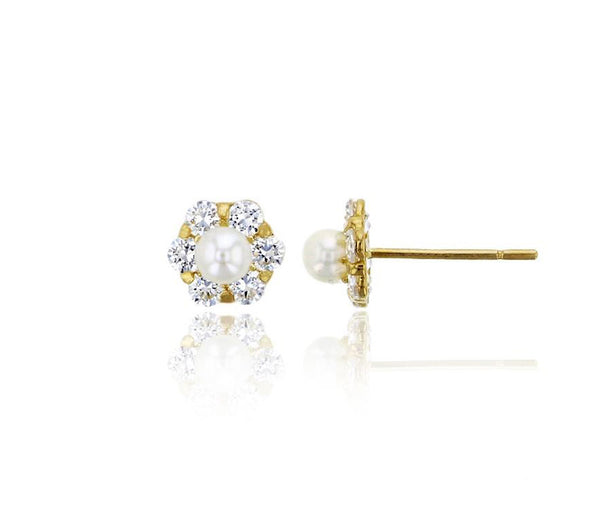 Freshwater Pearl Flower Stud Earrings (14K)