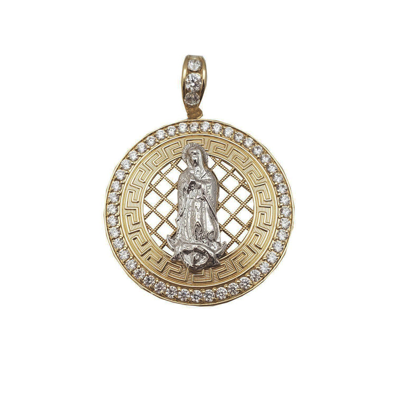 Virgin Mary Iced Meandros Medallion Pendant (14K)