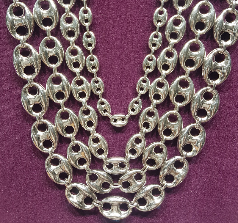 4cecc5a10 Puffy Gucci Mariner Link Chain Silver - Popular Jewelry.  products/gucci_link_chain_puffy_sterling_silver_distant.jpg