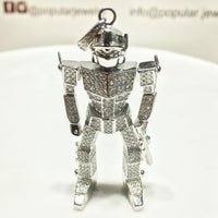 Gound-Out Gundam Robot Pendant Silver - Popular Jewelry