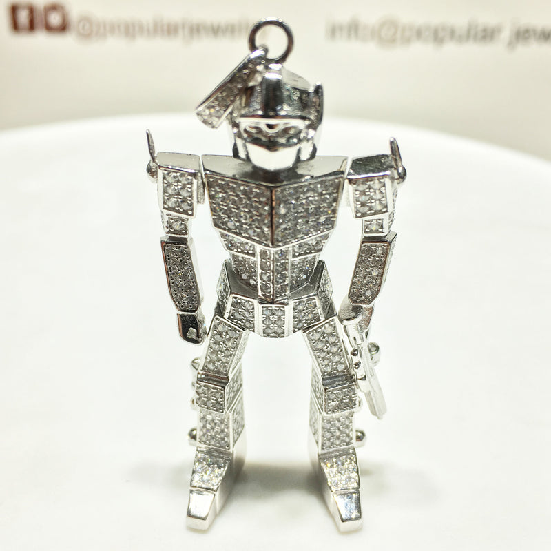 Iced-Out Gundam Robot Pendant Silver - Popular Jewelry