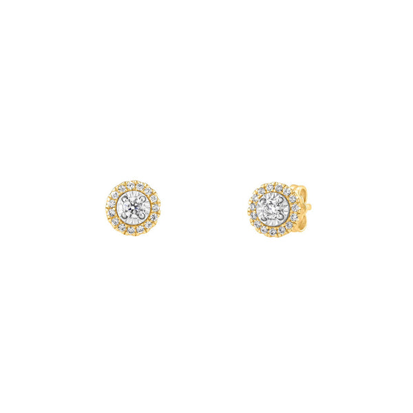 Halo Diamond Stud Earrings (14K)