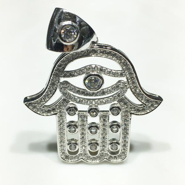 Iced Out Hamsa Pendant Sterling Silver CZ - Popular Jewelry