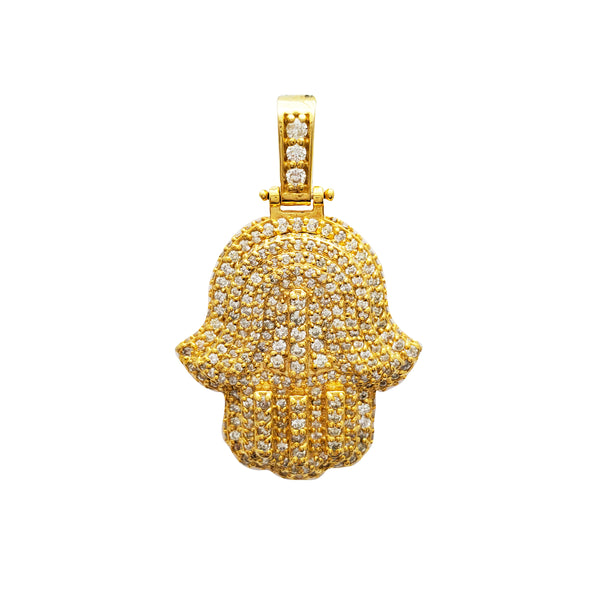 Diamond Double Hamsa Pendant (14K)