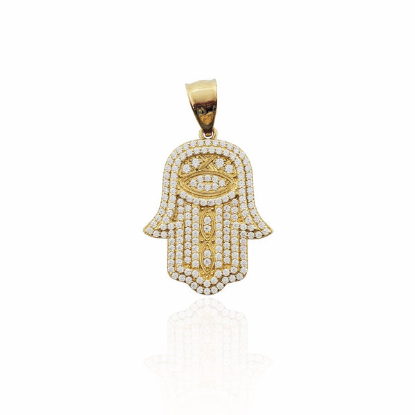 Yellow Gold Iced-Out CZ Hamsa Pendant (14K)