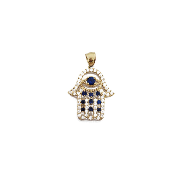Iced-Out Hamsa & Evil Eye Pendant (14K)